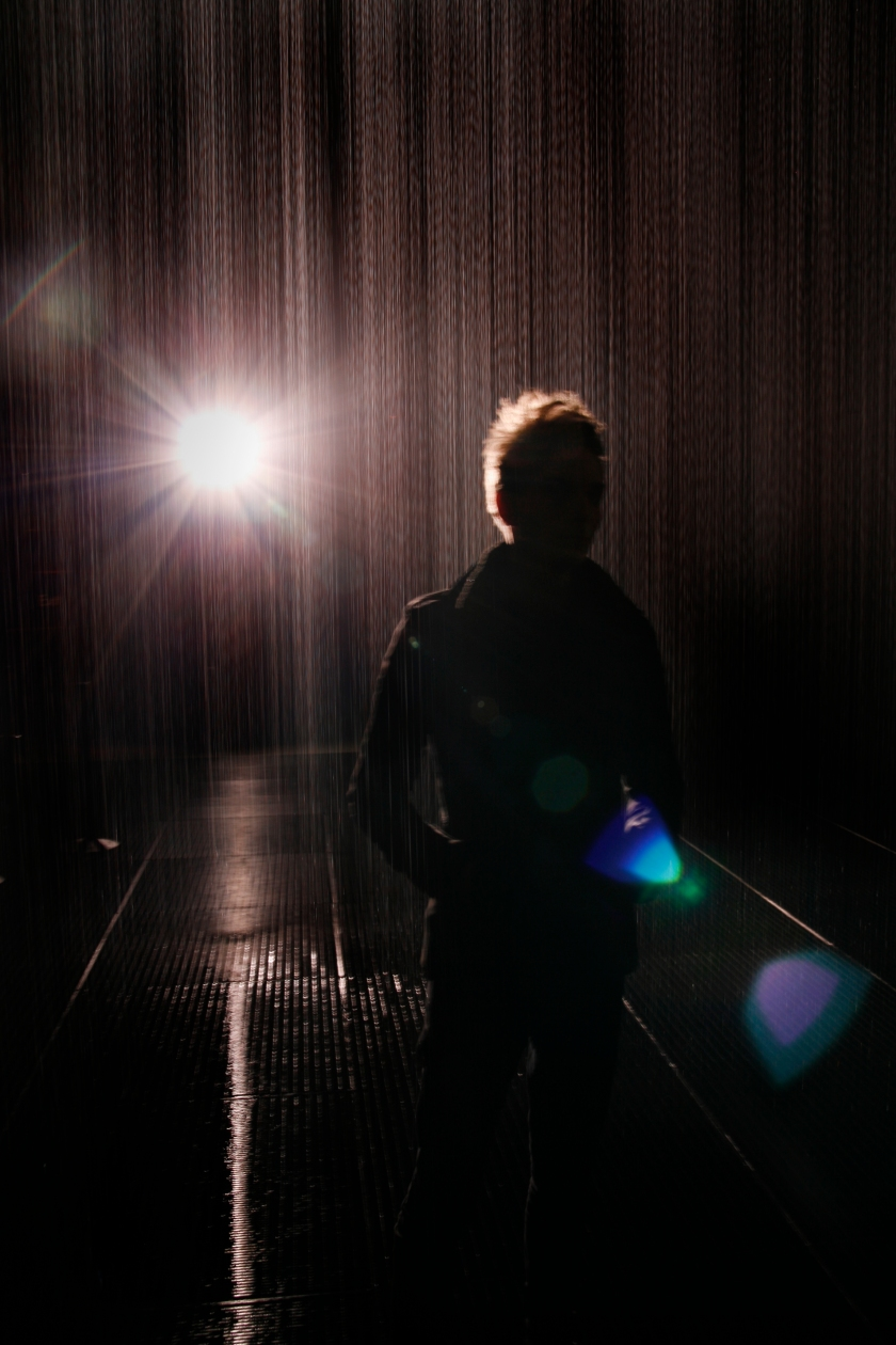 The chap in the Rain Room at The Barbican, London