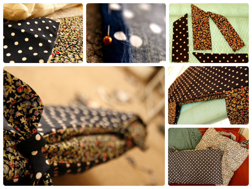 Navy polka dot and floral tie cushion cover collage