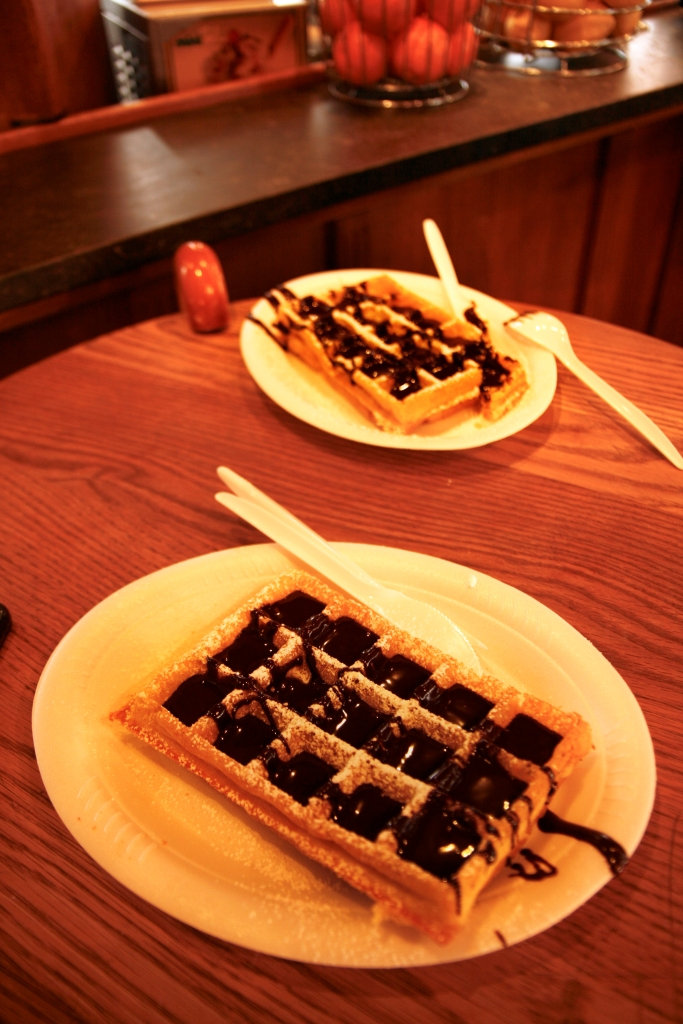 Traditional Belgian Waffles with Chocolate Sauce