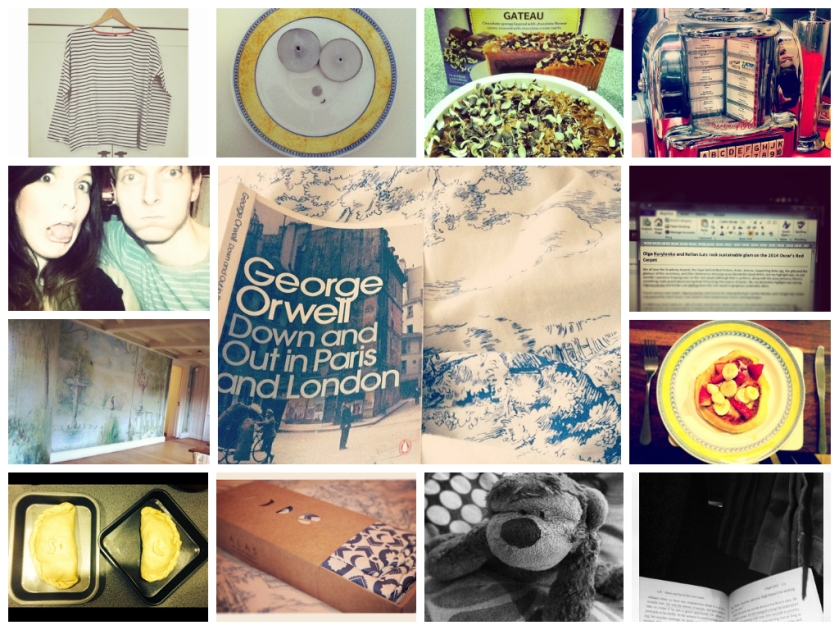 Day 51 - Breton Stripes, Day 52 -Faces in strange places, Day 53 - Chocolate Gateau, Day 54 - Reading in bed, Day 55 - Ed's Diner, Day 56 - Not taking life too seriously, Day 57 - Geffrye Museum, Day 58 - writing, Day 59 - making pancakes, Day 60 - St Piran's Day, Day 61 - Really great packaging, Day 62 - Dave the monkey, Day 63 - Coach trips and good books