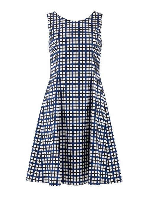 People Tree - christy-checked-flared-dress-in-navy-