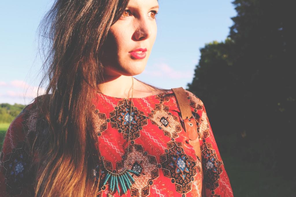 Brigitte Pattern Dress, Fabric TRAID, People Tree necklace